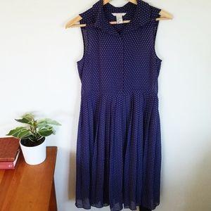 H&M Sleeveless Sheer Navy Blue Polka Dot Dress